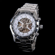Black Dial Mens Skeleton Stainless Steel Automatic Mechanical Analog Wrist Watch