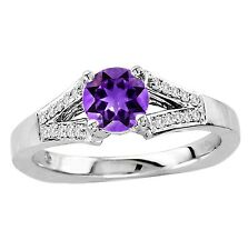 925 Sterling Pure Silver Ring 6mm Natural Amethyst Purple Color Gemstone Ring