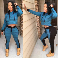 New Womens Fashion Jumpsuit Tracksuit Casual Sports Hooded Sweatshirt Tops Pants