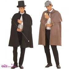 MENS VICTORIAN GENTLEMAN DETECTIVE SHERLOCK HOLMES FANCY DRESS CAPE + TIPPET NEW