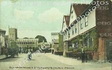 Suffolk Ipswich Old Manor House & St Margaret Church's Old Photo Print - England