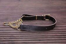 Soft Leather Dog Collar, Half Check/Choke, 2 Sizes Quality, Strong, Brass, Brown