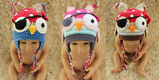 Handmade Knit Crochet Vikings Owl Hat Pirate Owl Hat Newborn Photo Prop Baby Hat