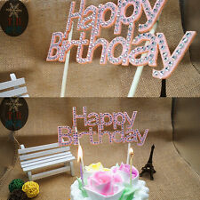 Happy Birthday Party Cake Topper Sign Diamonte Crystal Rhinestone Decorating SE