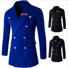 Mens Woolen Cashmere Double-breasted Brooch Decor Parkas Peacoats Military Coats