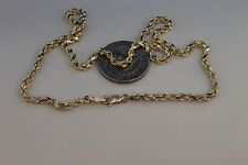 10k Yellow Gold Mens Womens Hollow Rope Diamond Cut Chain Necklace 3mm
