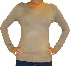Women Ladies Everyday Long Sleeved V Neck Stretchy Top Jumper  Size 6 8 10 12
