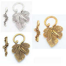 10Sets Silver Gold Brass Grape Leaf Toggle Clasps For Jewelry Making Findings