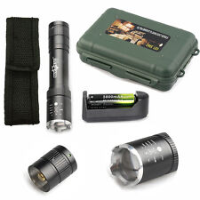 Zoomable 5000LM CREE XML T6 LED Tactical Flashlight Torch+18650+Charger+Case