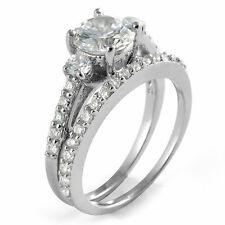 Round Cubic Zirconia Bridal Set Wedding Engagement Ring Sterling Silver 925