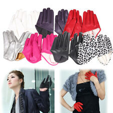 Punk Womens Half Finger Faux Leather Gloves Ladys Fingerless Show Tight Mitten