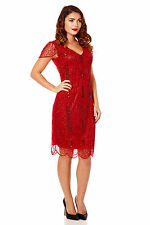 Downton Abbey 20s Vintage Inspired Wedding Beaded Flapper Dress in Red Plus Size
