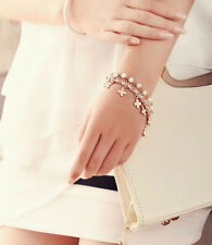 Chain Four Leaf Pearl New Rope Bracelet 2016 Leather Womens Clover Beautiful