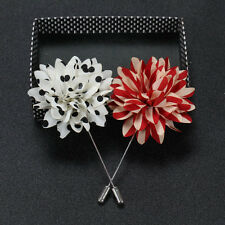 Mens Lapel Pins Flower Polka Dot Handmade Boutonniere Stick Brooch Pin Suit CH