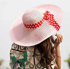 Lady Beach Hat Summer Sun Floppy Fold Wide Brim Straw Hat Women Derby Cap