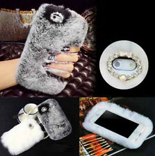 For Apple iPhone 7 7 Plus Luxury Crystal Rabbit Fur Phone Cases Covers Skins