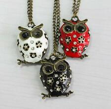1Pcs Crystal Hot Retro Necklace Owl Charms Long Sweater Rhinestone Pendant Chain