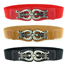 Women Alloy Harps Shape Clasp Buckle Thin Stretch Belt Elastic Waist Band NY044