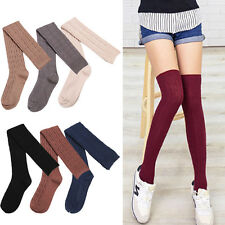 Women Thigh High Socks Over The Knee Ribbed Long Stocking Solid Pantyhose Cotton