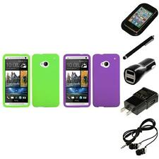 For HTC One M7 Silicone Skin Rubber Soft Case Phone Cover Headphones