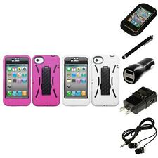 For Apple iPhone 4/4S Kickstand Case Heavy Duty Hard Soft Case Cover Headphones