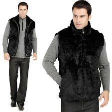 New Winter Men's Fashion 100% Real Whole Rabbit Fur Vest Waistcoat Vest