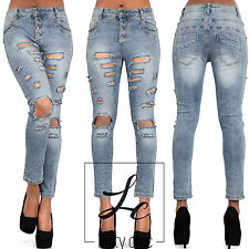 Womens Ladies Sexy Blue Ripped Skinny Jeans Slim Fit Faded Denim Pant Size 6-14
