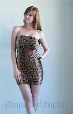 FASHION MAGAZINE Brown Ruched Snake Pattern Strapless Tube Micro Mini Dress