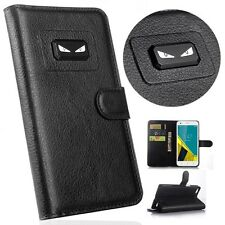 New Angry eyes Litchi Leather wallet flip stand pouch Cover Case For Huawei
