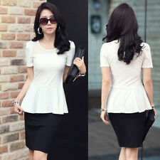 Slim Fit Womens Short Sleeve T-shirt Tulle Tops Flouncing Hemline Blouse Casual