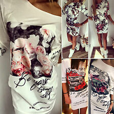 Womens Floral Bodycon Short Mini Dress Letter Printed Party Evening Clubwear New