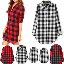 Women Tops Long Sleeve Plaid Check Loose Button Down Lapel Blouse Cotton Shirt
