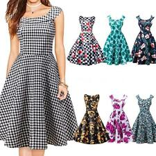 50s 60s Rockabilly Pinup Evening Party Womens Floral Swing Dress Vintage O6C8