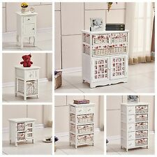 White Vintage Chic Wooden Chest Of Drawers Wicker Baskets Storage Unit Cabinet