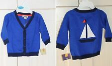 CHEROKEE Baby Boys Size NB, 9 Mo Nautical Blue Cardigan Sweater NWT