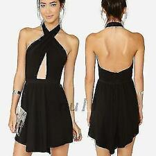 Sexy Halter Cut-out Open Back Womens Cocktail Party Mini Dress Asymmetric Black