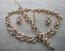 Exquisite Pearl & Crystal Collar Necklace Set - Bridal, Occasion & Wedding.