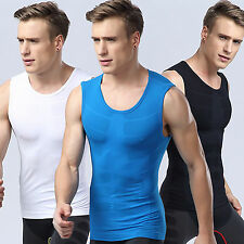 Mens Sports Gym Compression Base Layers Tops Tight Tank T-Shirts Sleeveless Vest