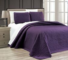 NEW Twin XL Full Queen Cal King Bed Purple 3 pc Coverlet Quilt Bedspread Set NWT