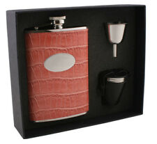 Visol Products Crocodile Leatherette Deluxe Flask Gift Set