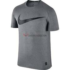 Nike Mens Pro Short Sleeve Swoosh Training T-Shirt Carbon Grey/Black All Sizes