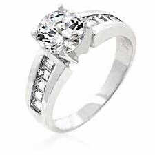 Rhodium Plated to .925 Sterling Silver Round & Channel Set CZ Engagement Ring