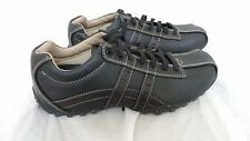Nerw!!  SKECHERS 60488 CITY WALK  LEATHER CASUAL OXFOR MIDNIGHT - BLACK   F57