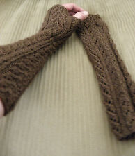 New Alpaca Wrist Arm Warmers From Peru with Braided design Color Brown #02086