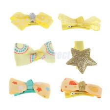 6x Girls Baby Cute Bow Hair Clips Grosgrain Ribbon Boutique Bowknot Hairpins