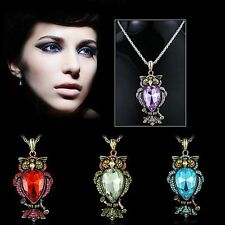 HOT Retro Purple Owl Charm Crystal Pendant Choker Necklace Chain Prom Sweet Gift