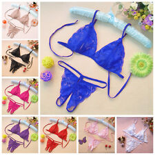 Sexy Women Lace Lingerie Underwear Sleepwear Bikini Tops Bra+G-string Thong Set