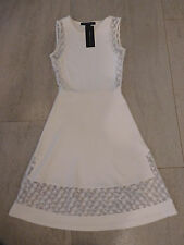 NWT $148 FCUK French Connection White Fit & Flare Lace inset US sz US 0-2, EU 32