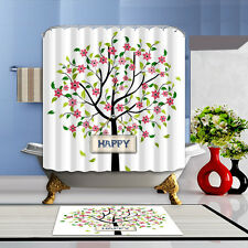 Flower Tree Bathroom Mat Waterproof Polyester Fabric Shower Curtain 12 Hooks 72""