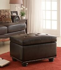 Foot Stool Ottoman Storage Tufted Leather Furniture Nailhead Accent Footstool